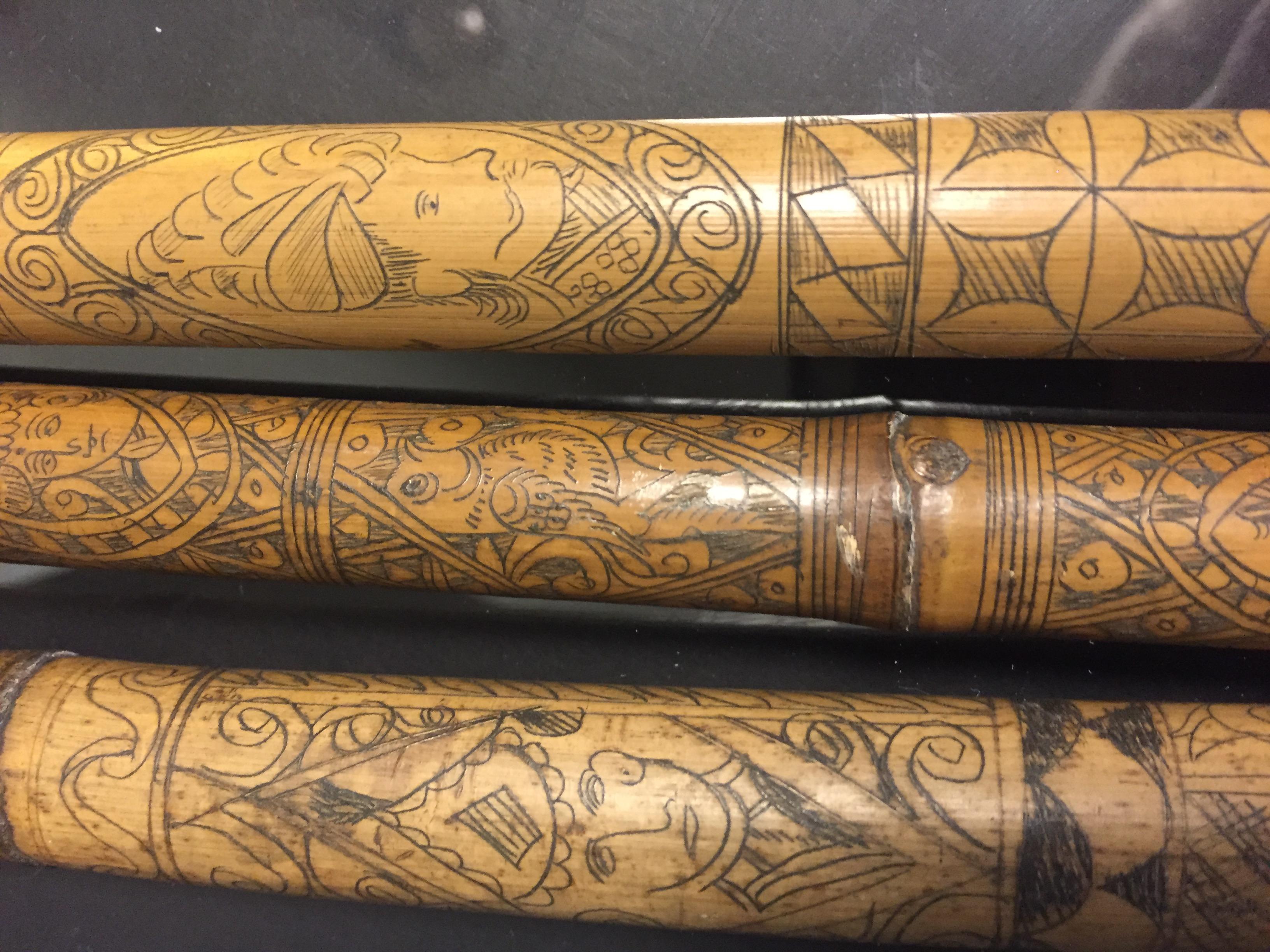 IRAN (?). Trois bambous gravés à décor en médaillon de profils de personnages, [...] - Image 5 of 6