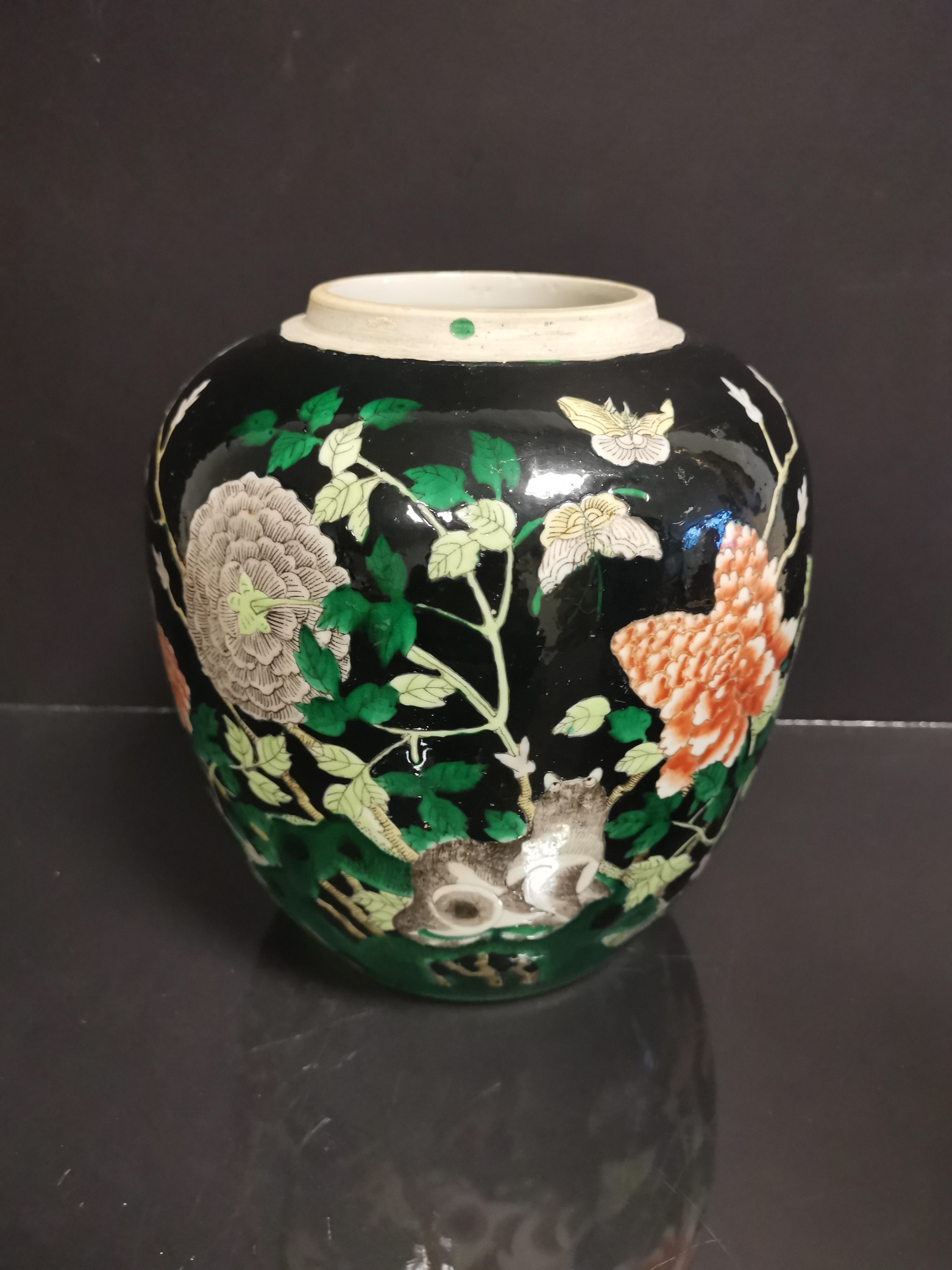 CHINE. Pot en porcelaine à décor de pivoines, animaux, papillons sur fond noir, fin [...] - Image 2 of 4