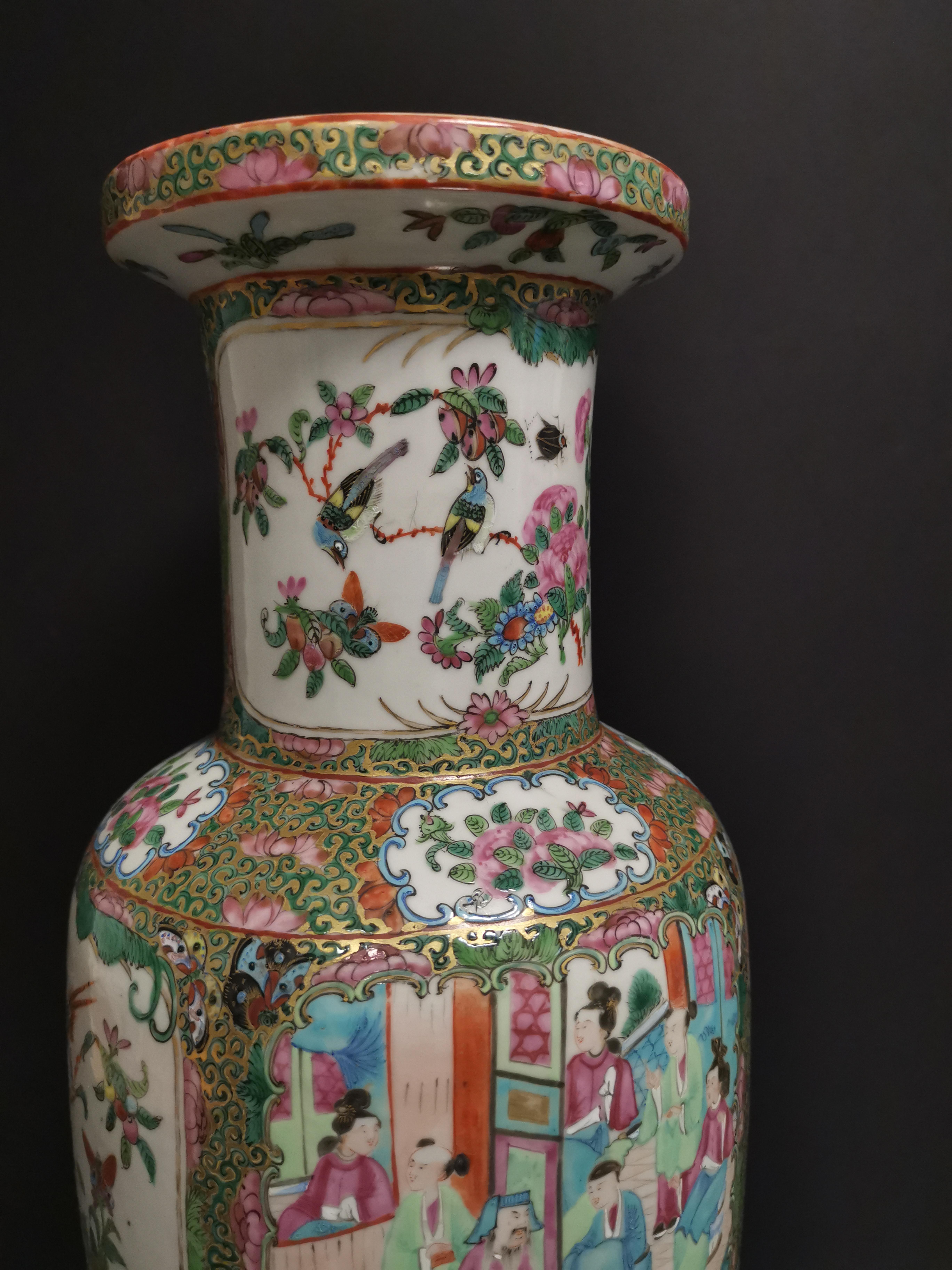 CHINE - Canton. Grand vase balustre à décor en réserves de scènes de pavillons [...] - Image 3 of 8