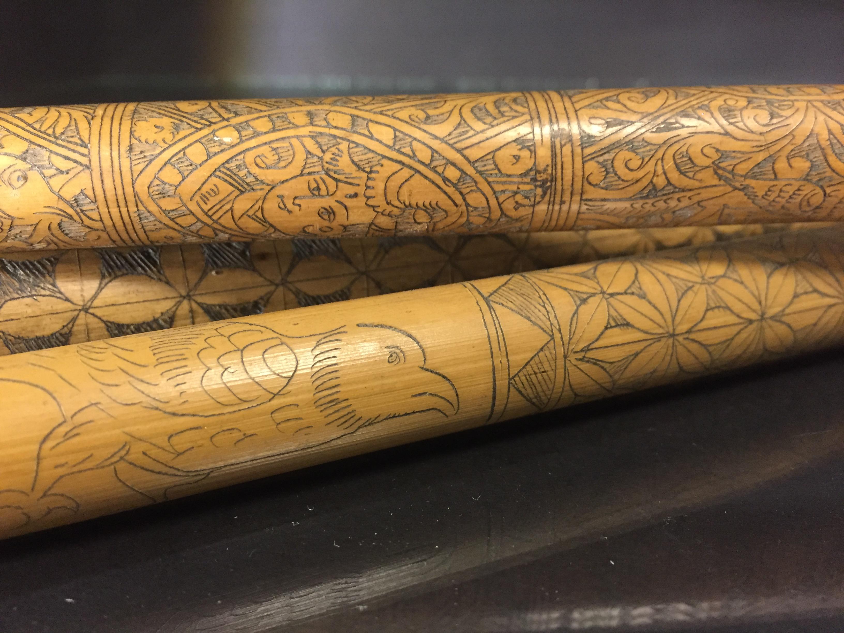 IRAN (?). Trois bambous gravés à décor en médaillon de profils de personnages, [...] - Image 6 of 6