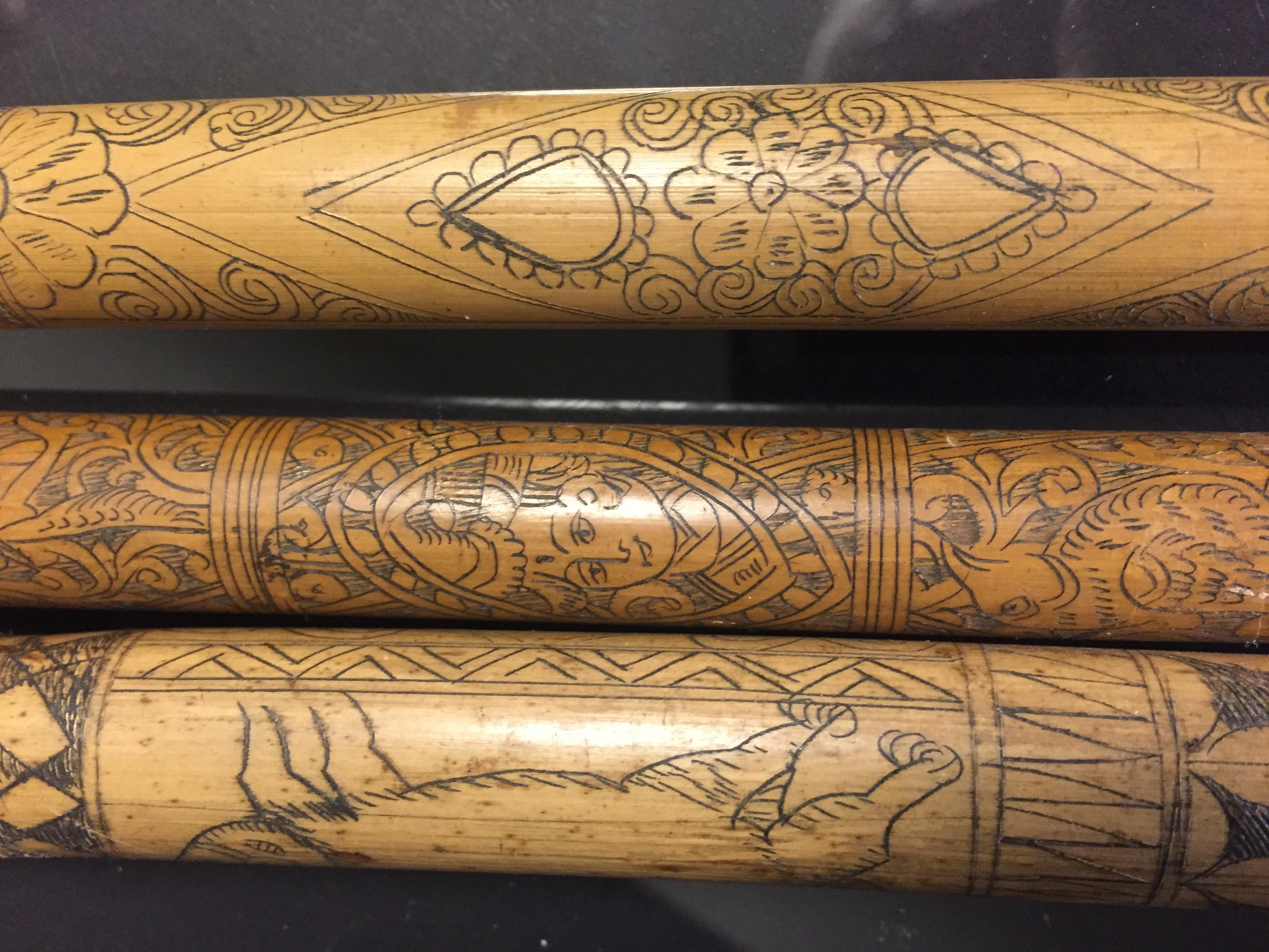 IRAN (?). Trois bambous gravés à décor en médaillon de profils de personnages, [...] - Image 4 of 6