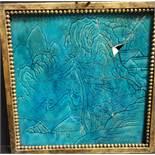 Plaque en grès émaillé turquoise. Chine, époque Kangxi (1662-1722). [...]