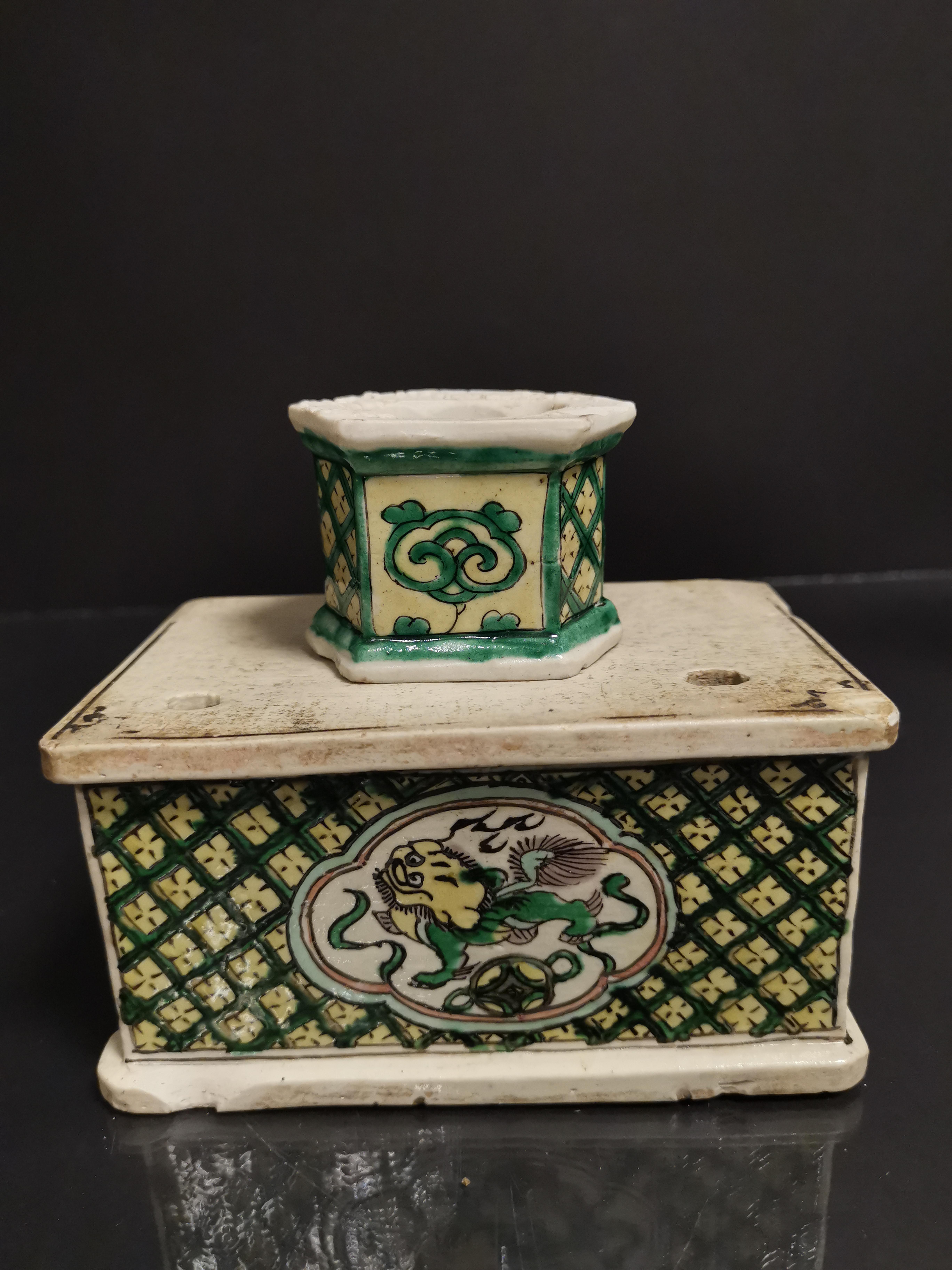 Lot de neuf socles en grès émaillé, Chine, époque Kangxi, XVIIIème et XIXème [...] - Image 4 of 8