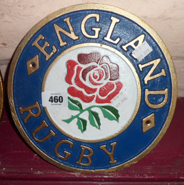 Lot 460 - A modern reproduction painted cast iron England Rugby sign