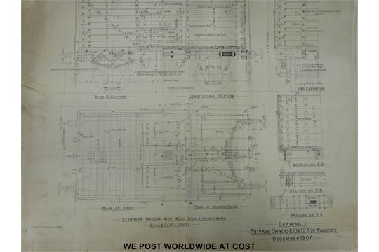 Approximately 30 Railway Clearing House wagon drawings including