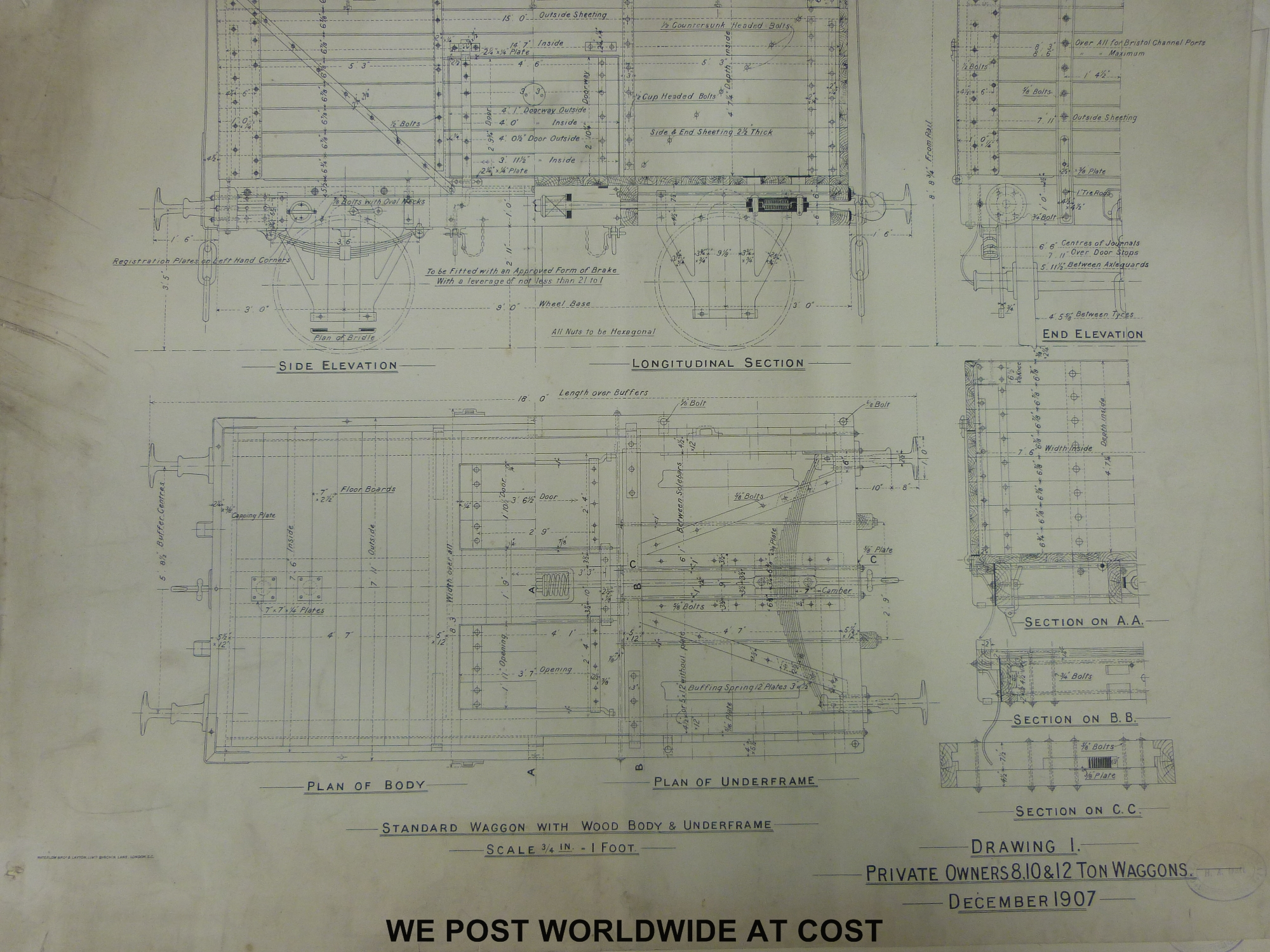 Approximately 30 Railway Clearing House wagon drawings