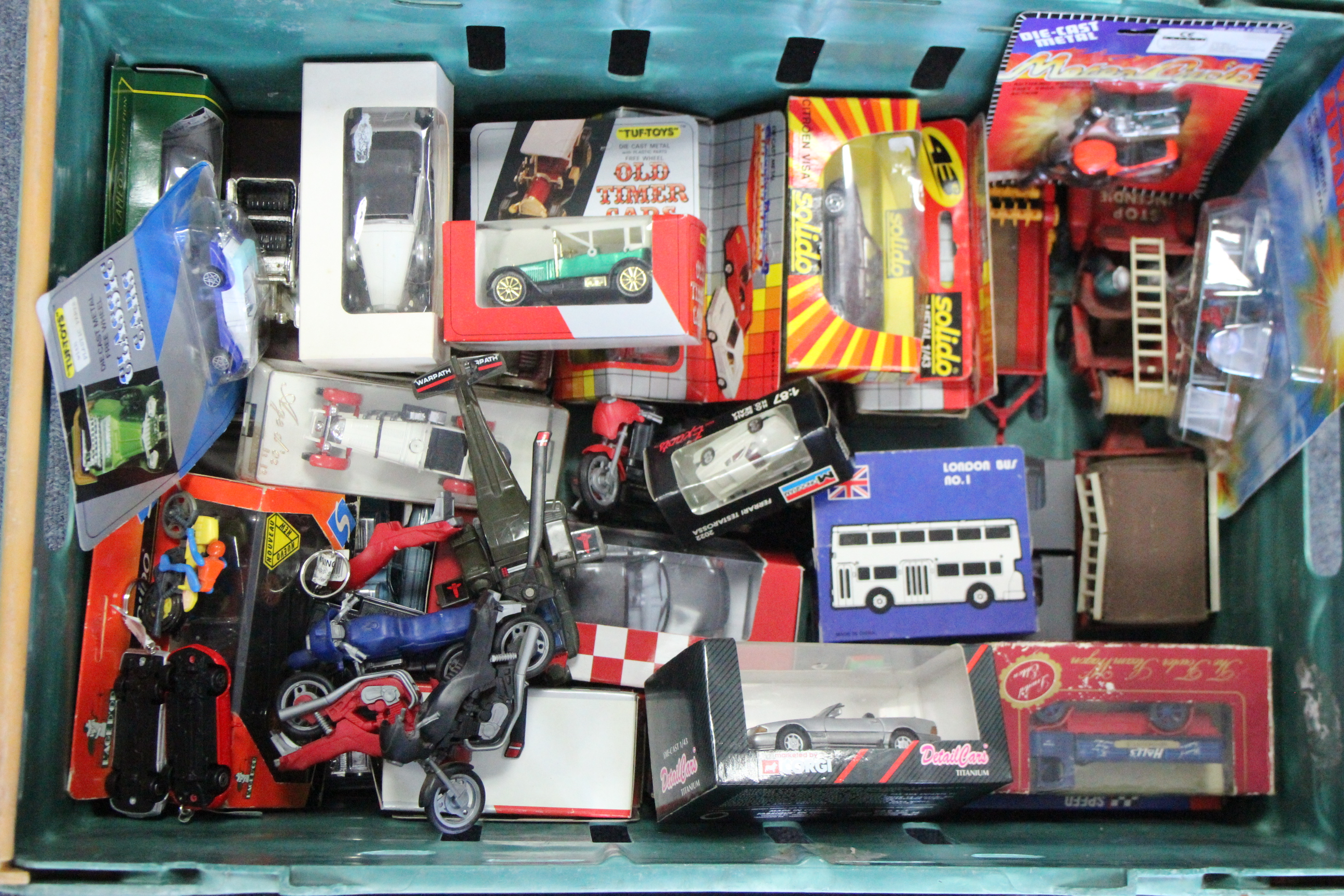 Lot 255 - Forty-eight various scale model cars, motorbikes, aeroplanes, etc., boxed & un-boxed.