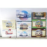 Eight various Corgi scale model 'buses & coaches, all boxed.