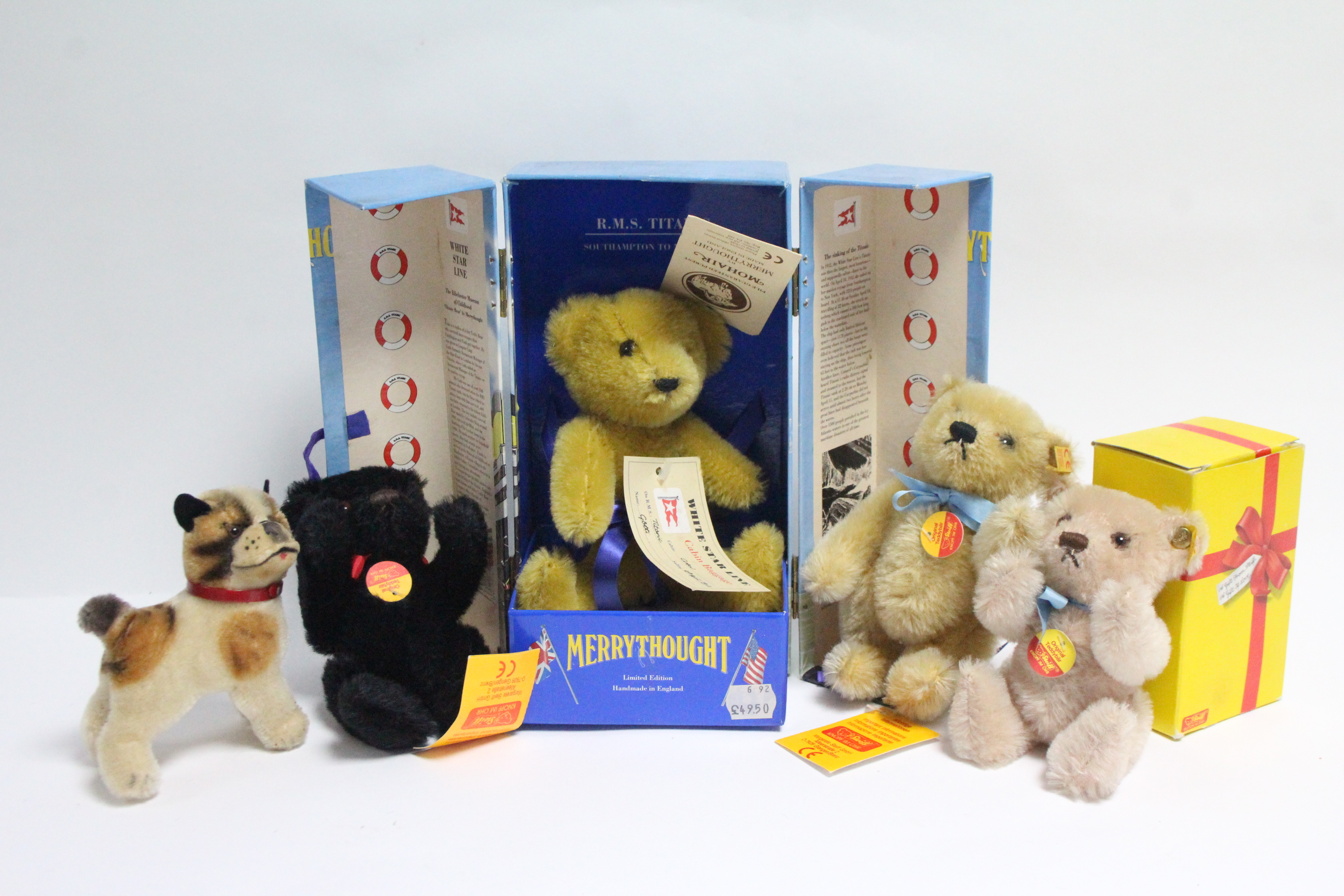 """Lot 289 - A Merrythought Limited Edition """"Titanic Bear"""" (Ltd. Ed. No. 2311-5000), with certificate, boxed;"""