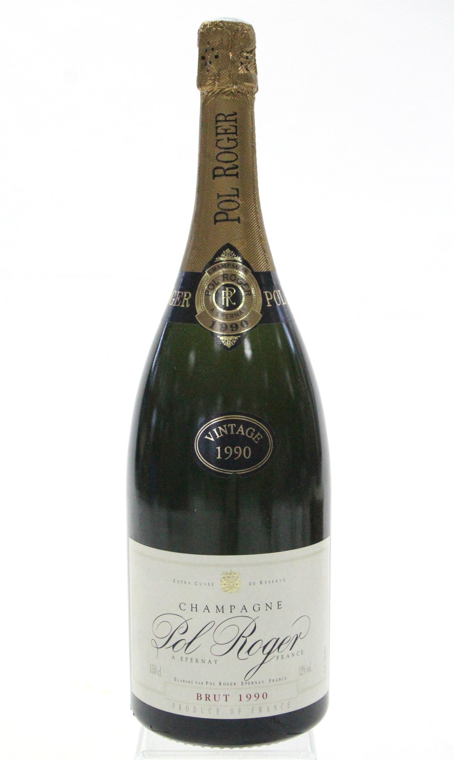 """Lot 57 - A bottle of Pol Roger """"Vintage 1990"""" champagne (150cl) with contents, boxed."""