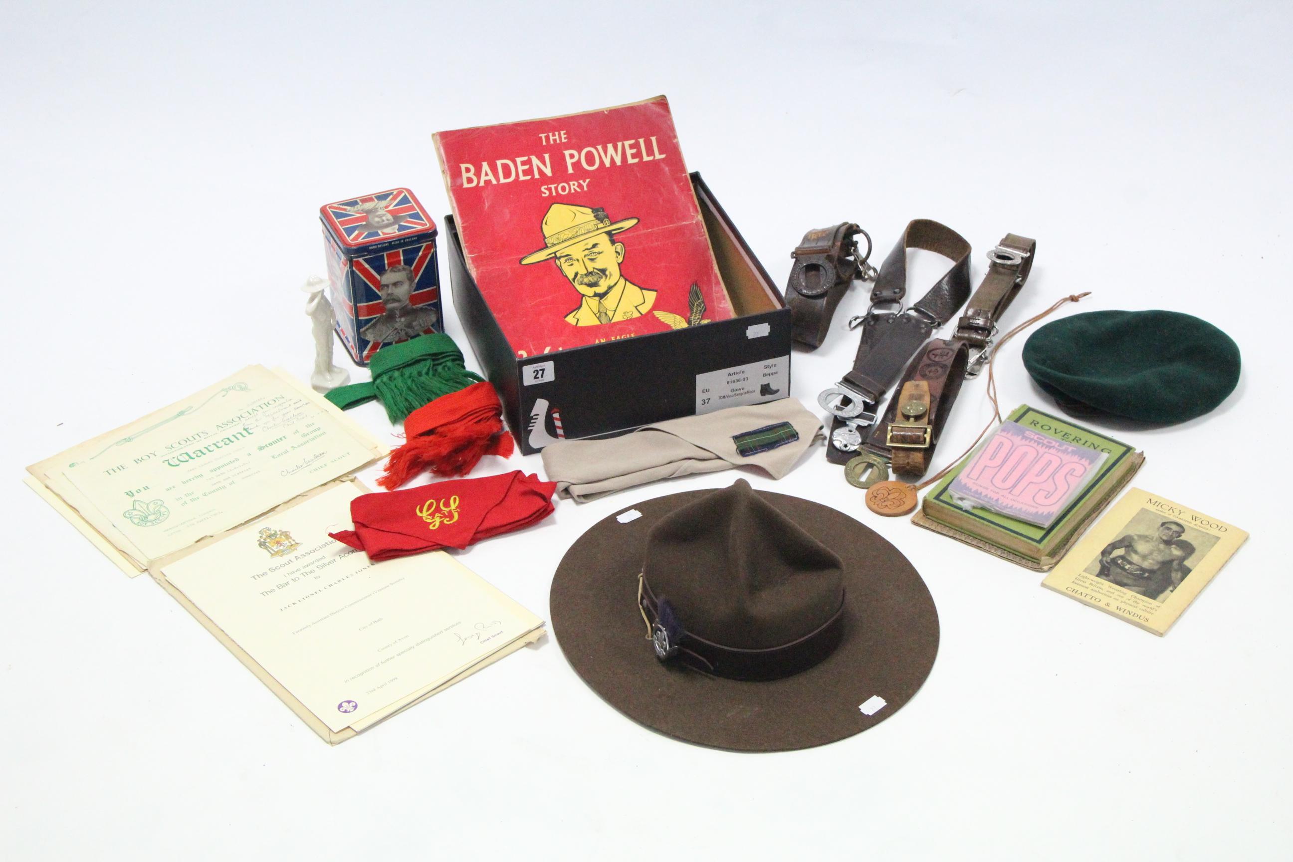 Lot 27 - A Boy Scout leader's wide-brimmed hat; a Boy Scout's cap; various Boy Scouts belts & neckerchiefs,