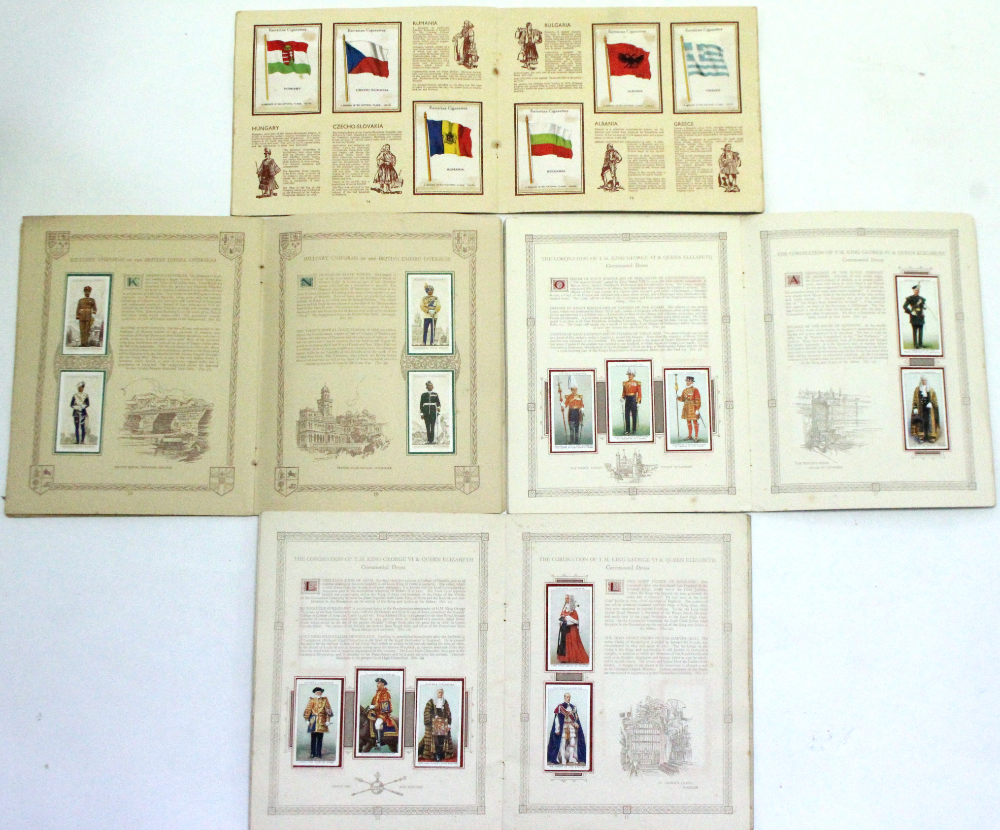 """Lot 136 - A Kensitas picture card album of """"National Flags"""" (silk) cards; together with three John Player"""