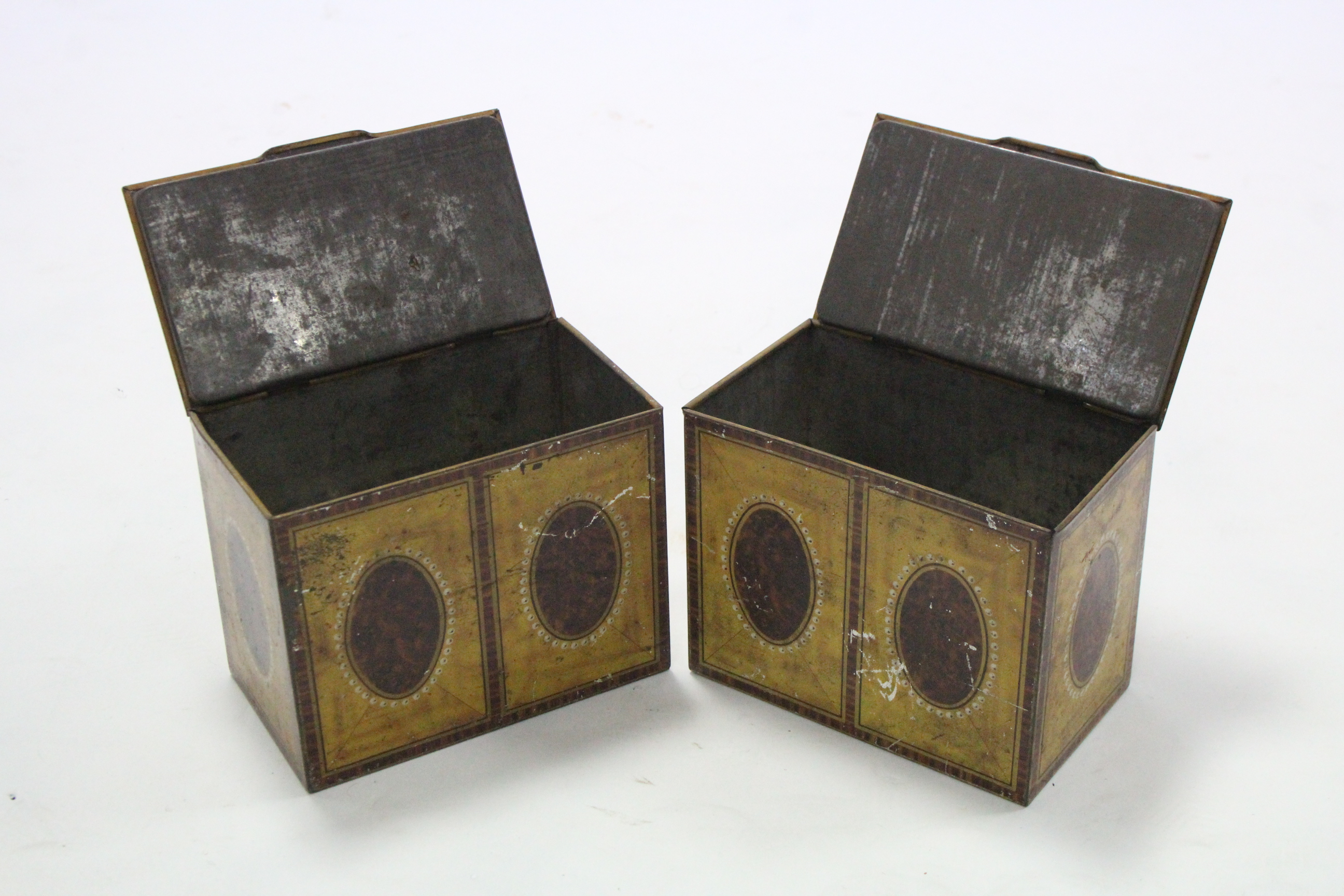 """Lot 56 - Ten William Crawford & Sons novelty biscuit tins, each in the form of a tea caddy, 6"""" wide x 4¾"""""""