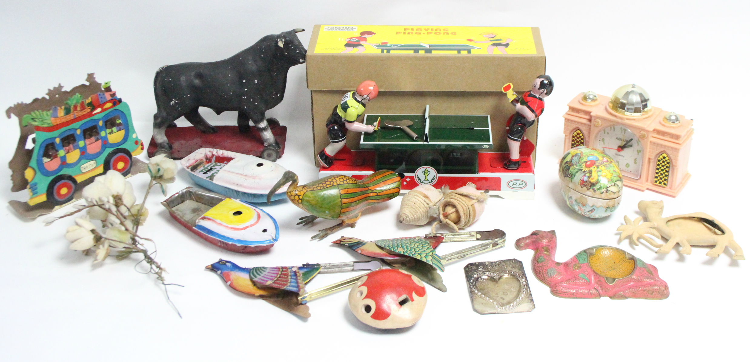 A Chinese clockwork-operated tinplate adult Ping-Pong toy, boxed; together with various other toys.