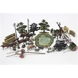 A QUANTITY OF BRITAINS PAINTED LEAD FARM MODELS INCLUDING FARMERS, MACHINER, TREES, ETC., all un-