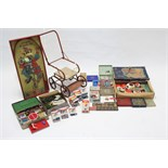 """An Acme Toys """"Mary Lou"""" tea set; boxed; a Chad Valley """"Clown Bagatelle"""" game; a Tri-ang doll's pram,"""