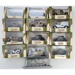 Thirteen various scale model military vehicles, all boxed.