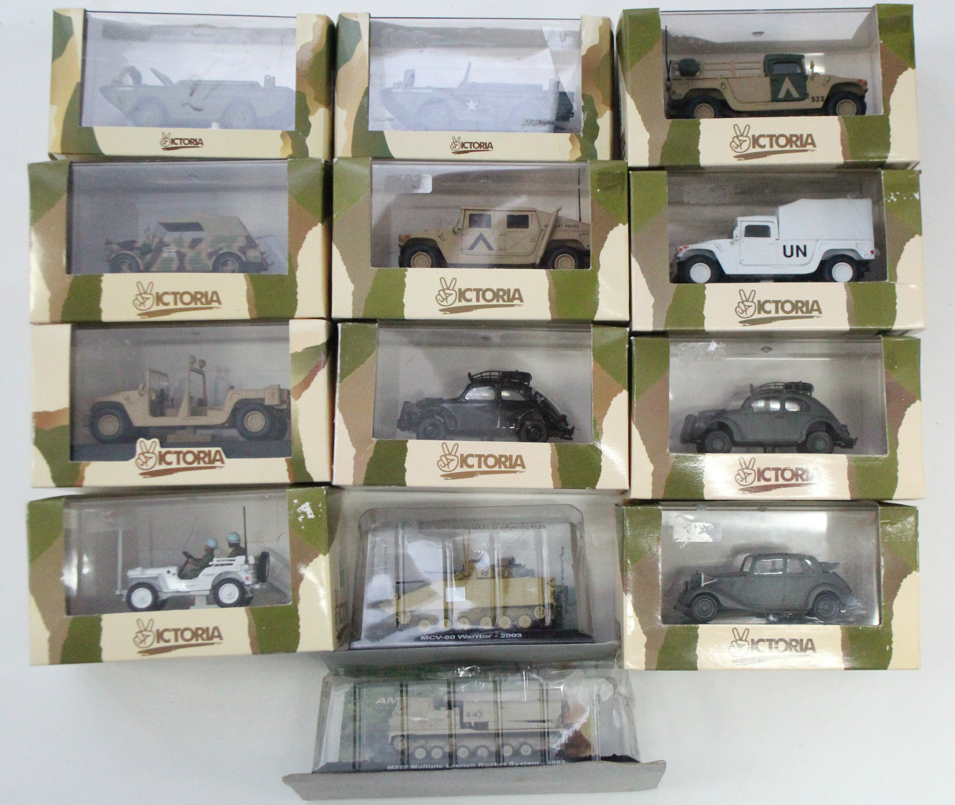 Lot 259 - Thirteen various scale model military vehicles, all boxed.