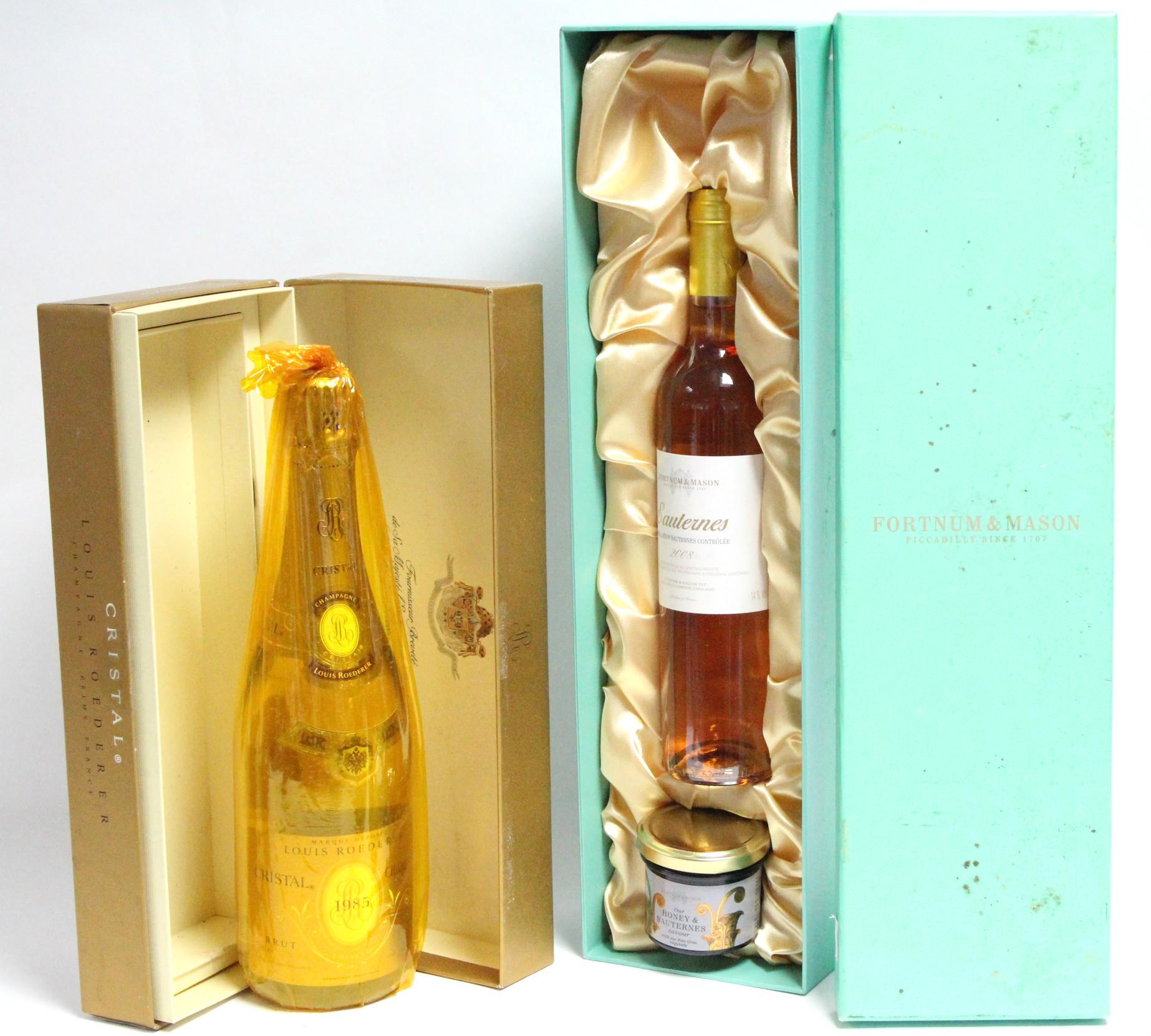 "Lot 59 - A bottle of Louis Roederer ""Crystal Champagne"" (750ml); & a bottle of Fortnum & Mason ""Sauternes"", &"