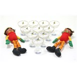 "A pair of ""Bill & Ben"" Flower-Pot Men character figures; & a set of ten ""Babycham"" glasses."