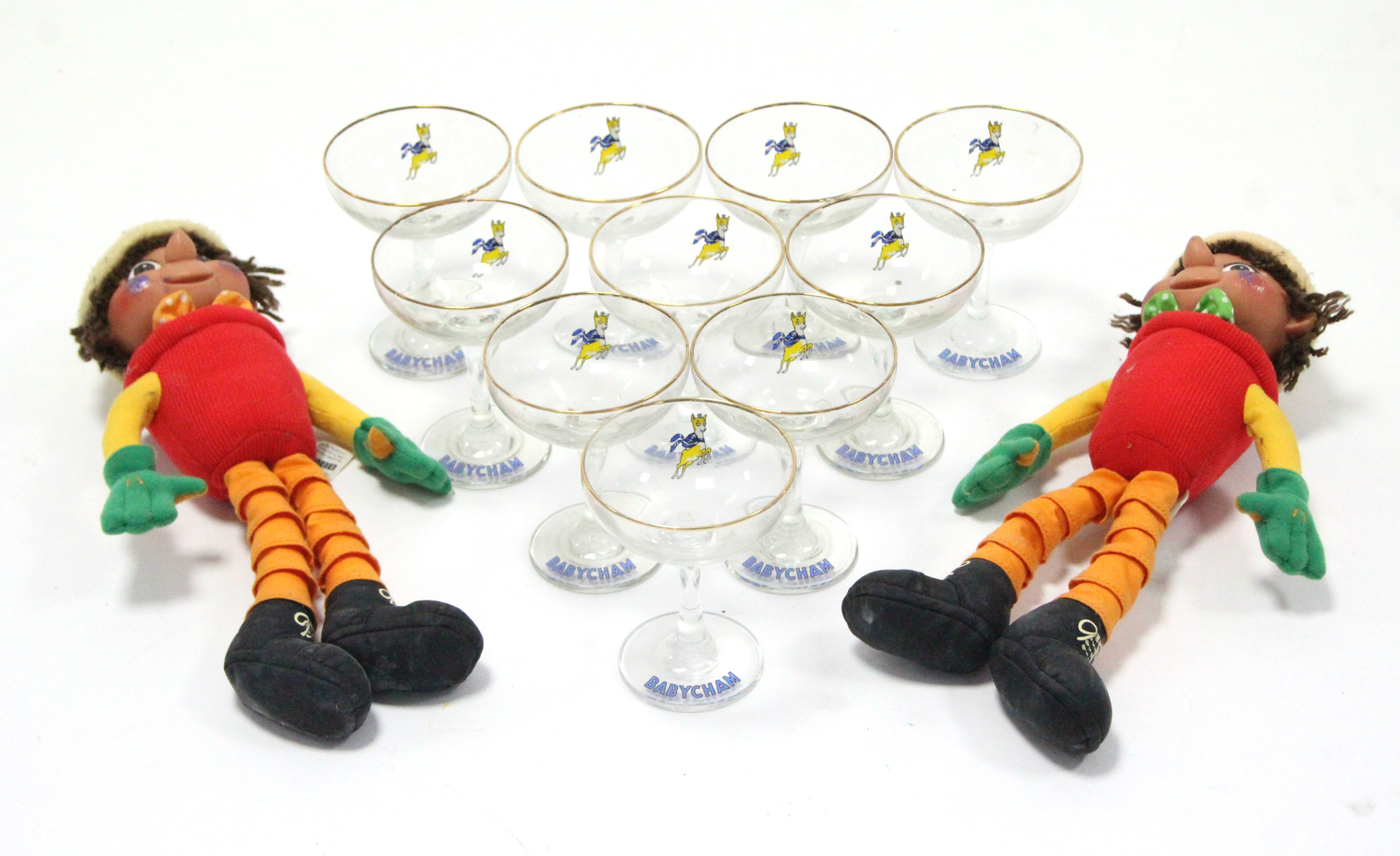 "Lot 39 - A pair of ""Bill & Ben"" Flower-Pot Men character figures; & a set of ten ""Babycham"" glasses."