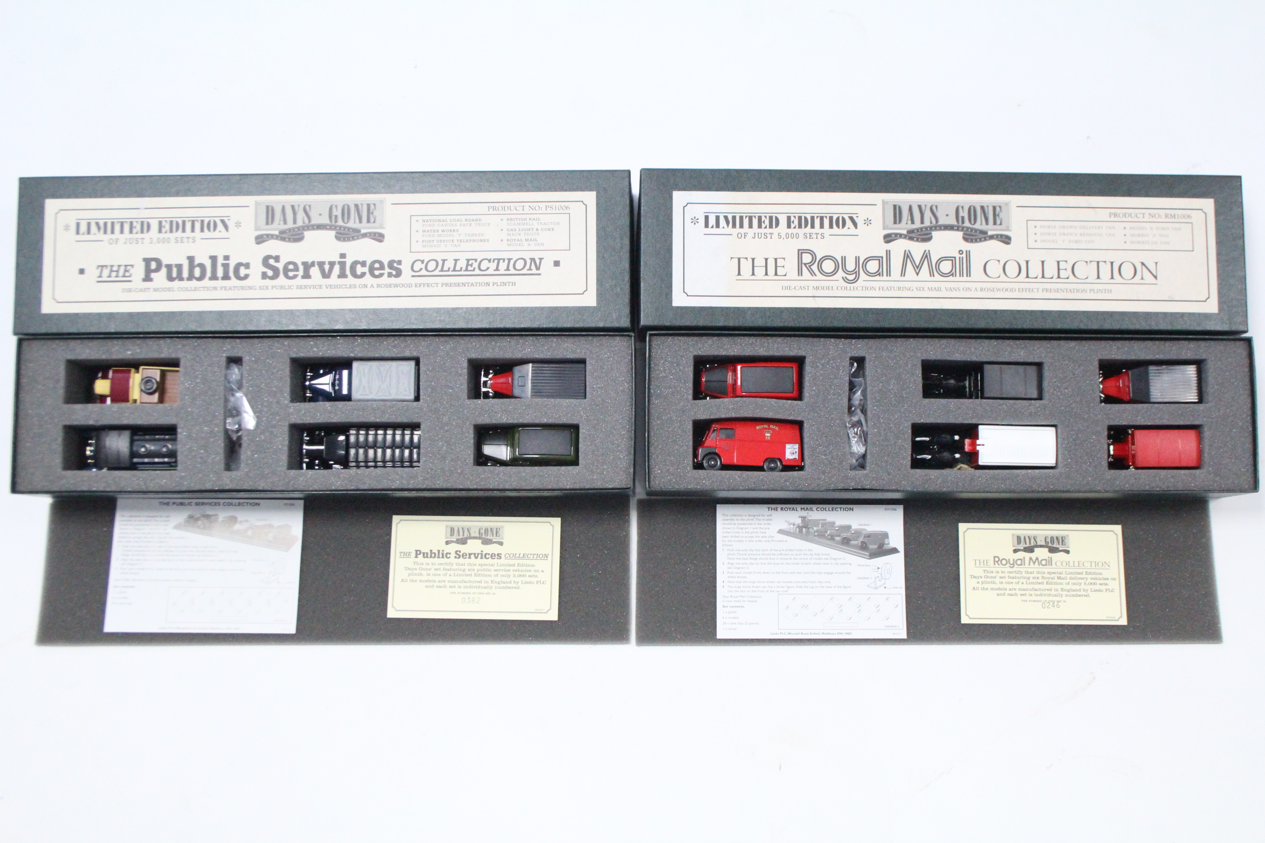 """Lot 239 - Two Lledo Days Gone Limited Edition sets """"The Public Services Collection"""" (Ltd. Edn. No. 0382/3000),"""