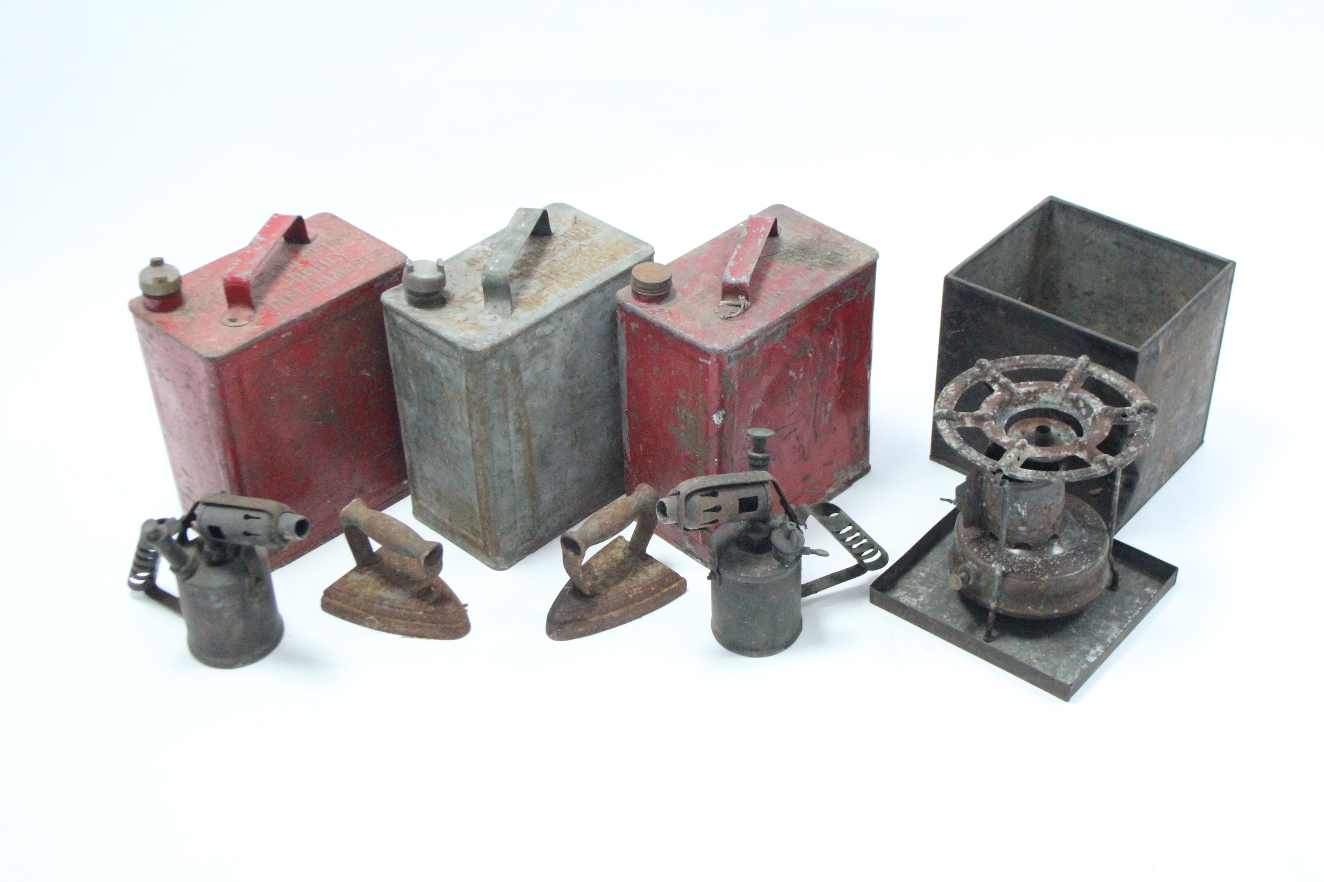 Lot 42 - Three vintage petrol cans; a vintage stove; two vintage blow torches; & two vintage flat-irons.