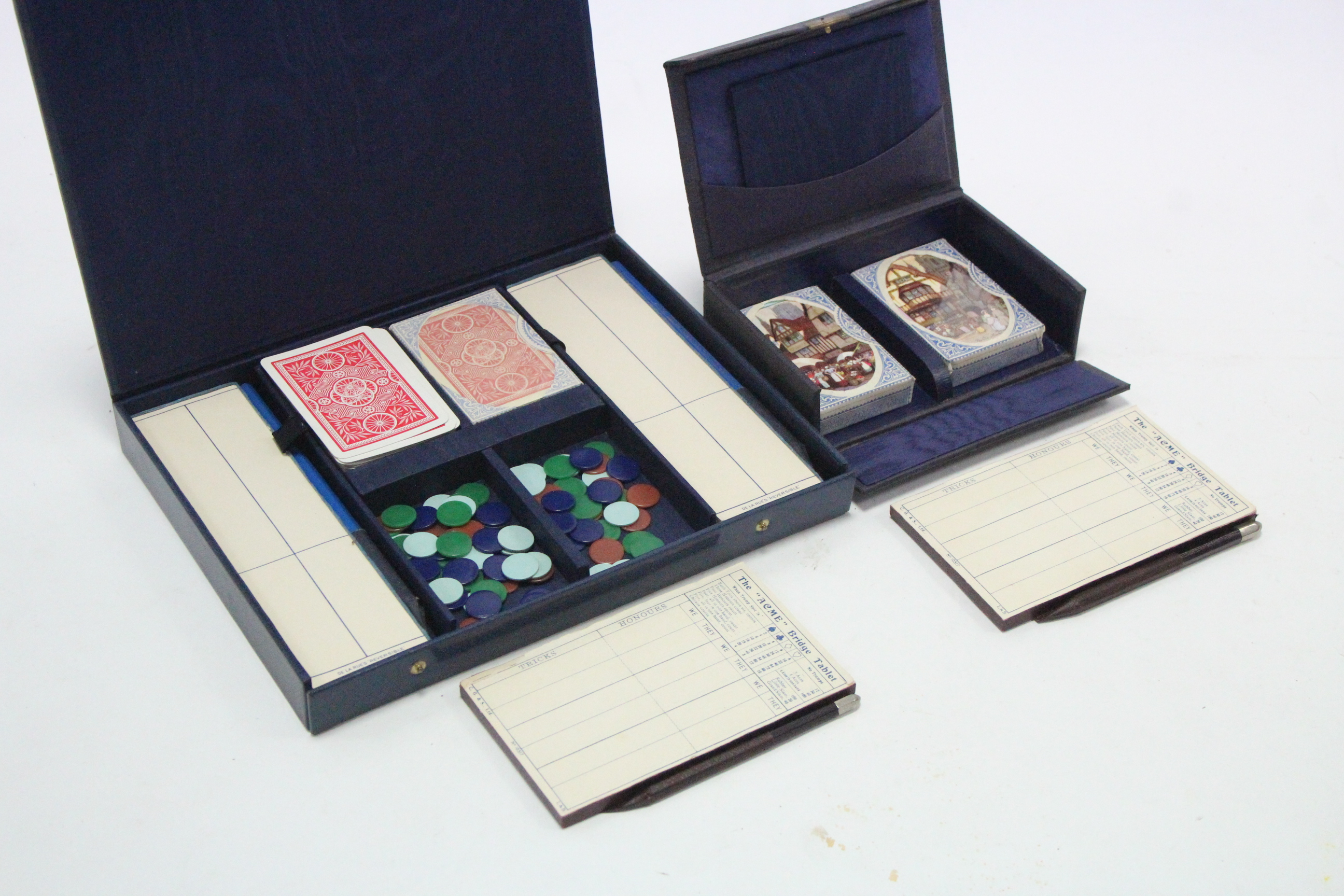 Lot 316 - Two bridge card games by Alf Cooke & De La Rue, each in case, circa 1930's.