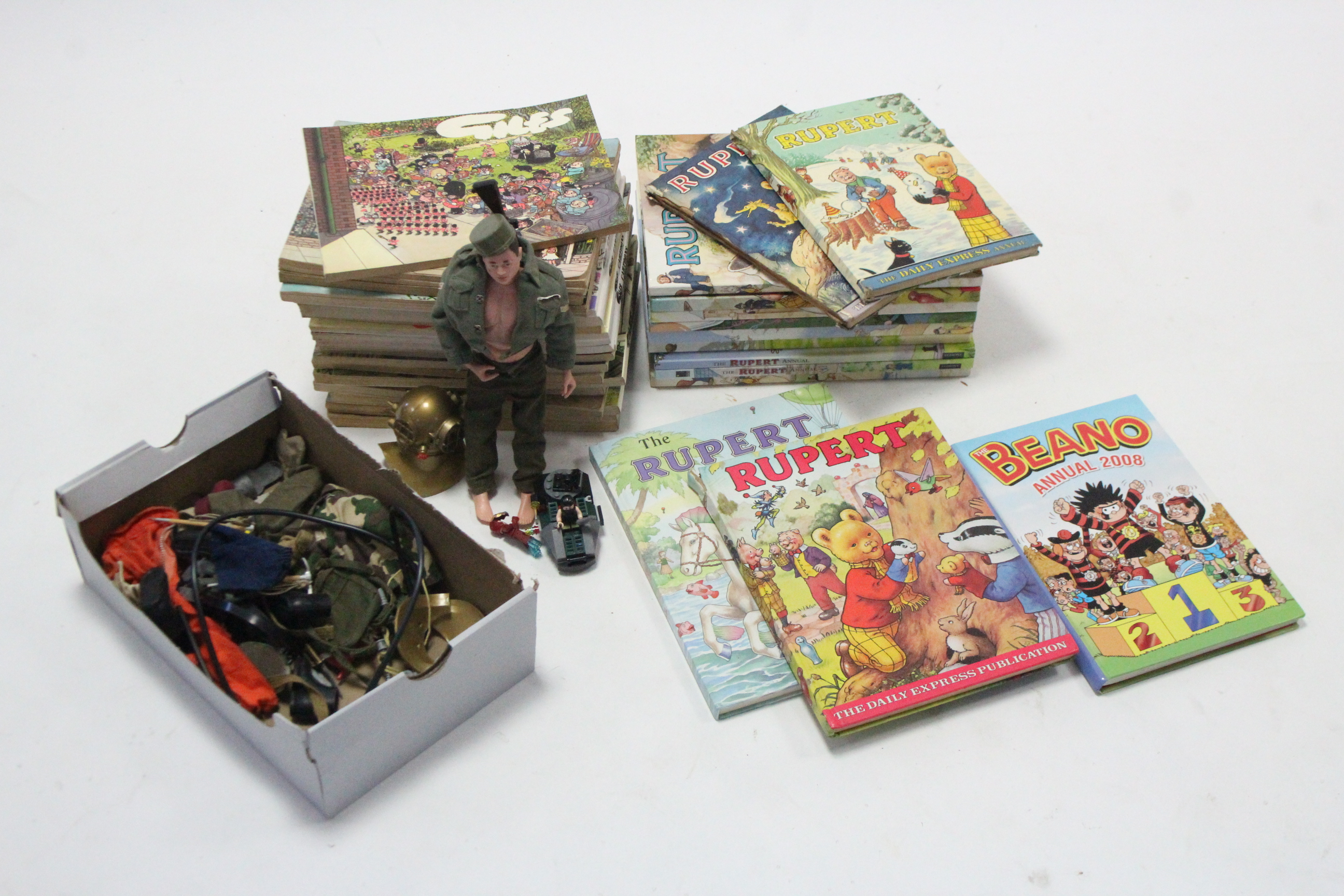 A Palitoy (1964) Action Man figure; various Action Man accessories; & various books & children's