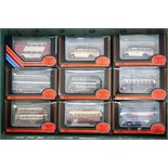 Sixteen Gilbow Exclusive First Edition scale model 'buses, each with window box.