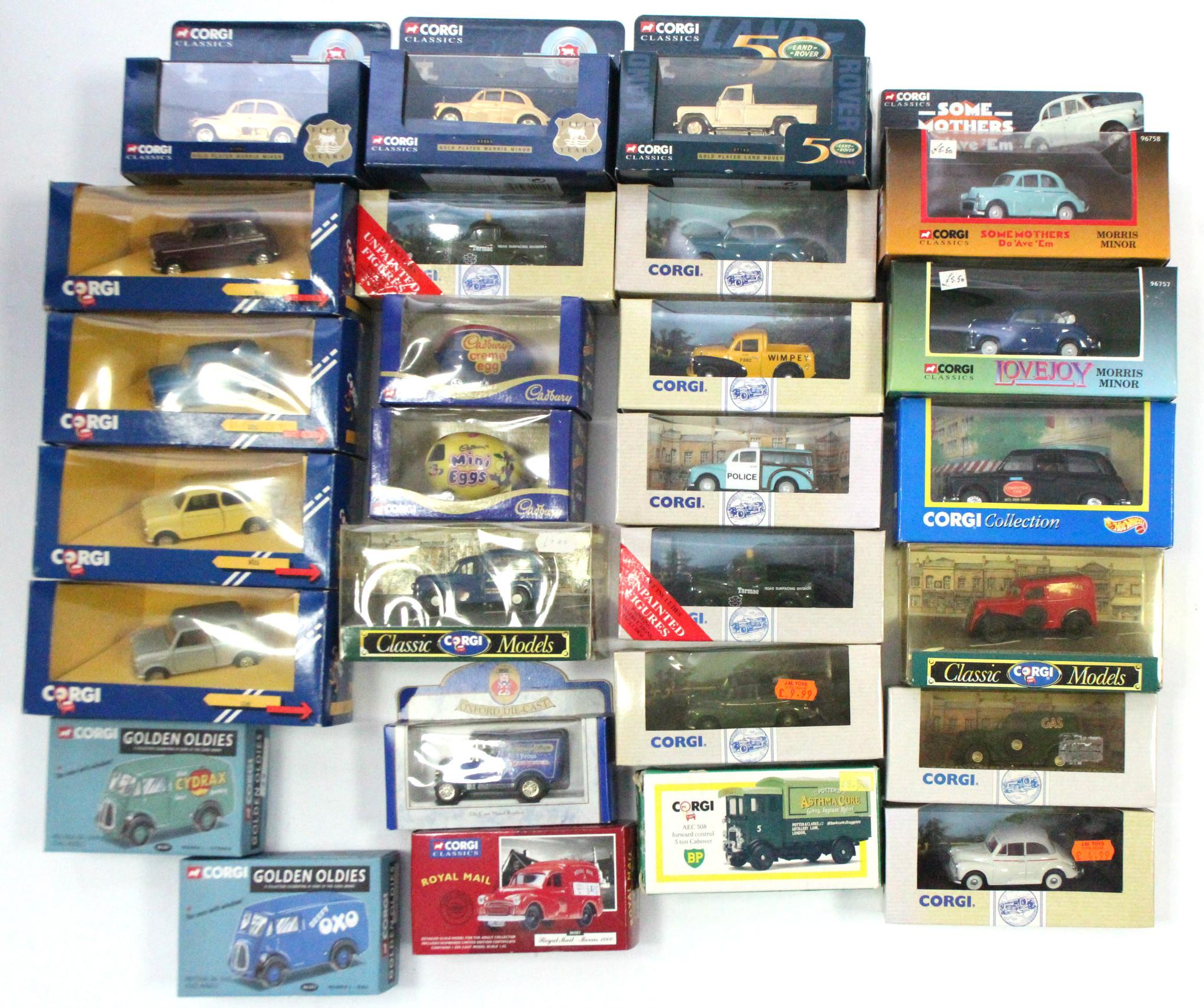 Lot 246 - Three Corgi Classics gold plated model cars; four Corgi scale model Minis; & various other Corgi