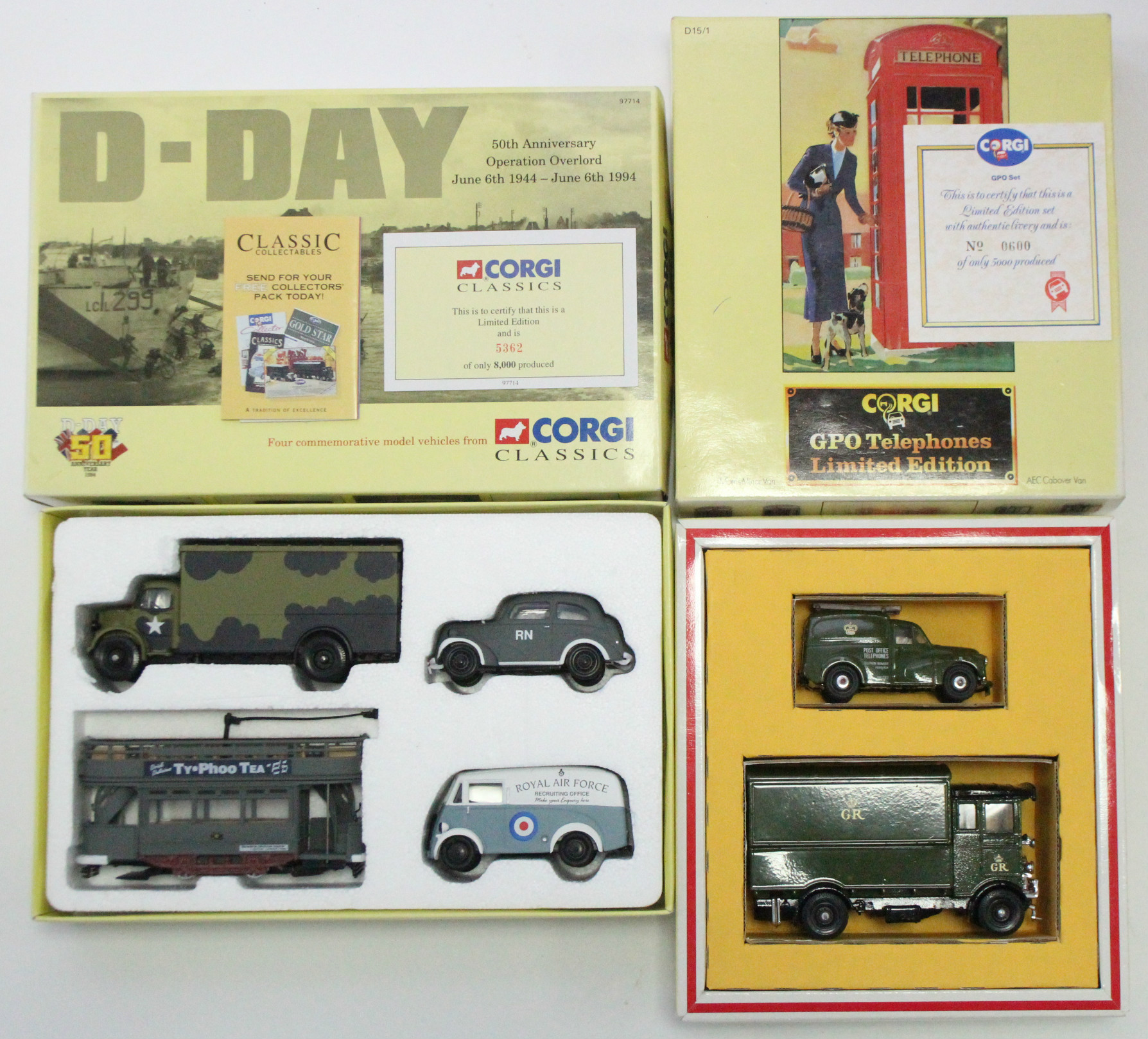 """Lot 247 - Two Corgi Classics Limited Edition sets """"D-Day 50th Anniversary Operation Overlord"""" (Ltd. Ed. No."""