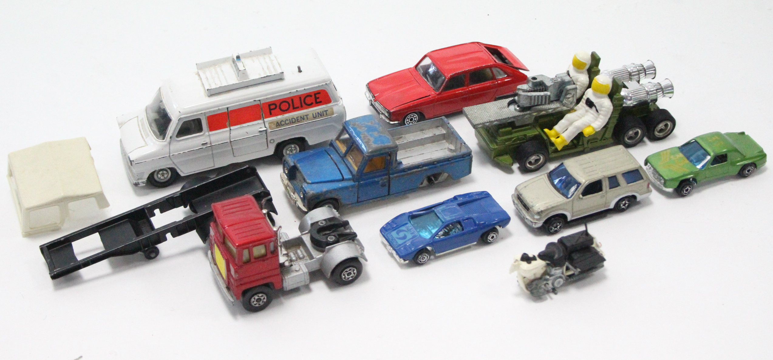 Lot 249 - Eight various models by Corgi, Dinky, & others, all un-boxed.