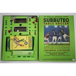 """A Subbuteo """"Continental Club Edition"""" football game, incomplete, boxed; a reproduction copy of the"""
