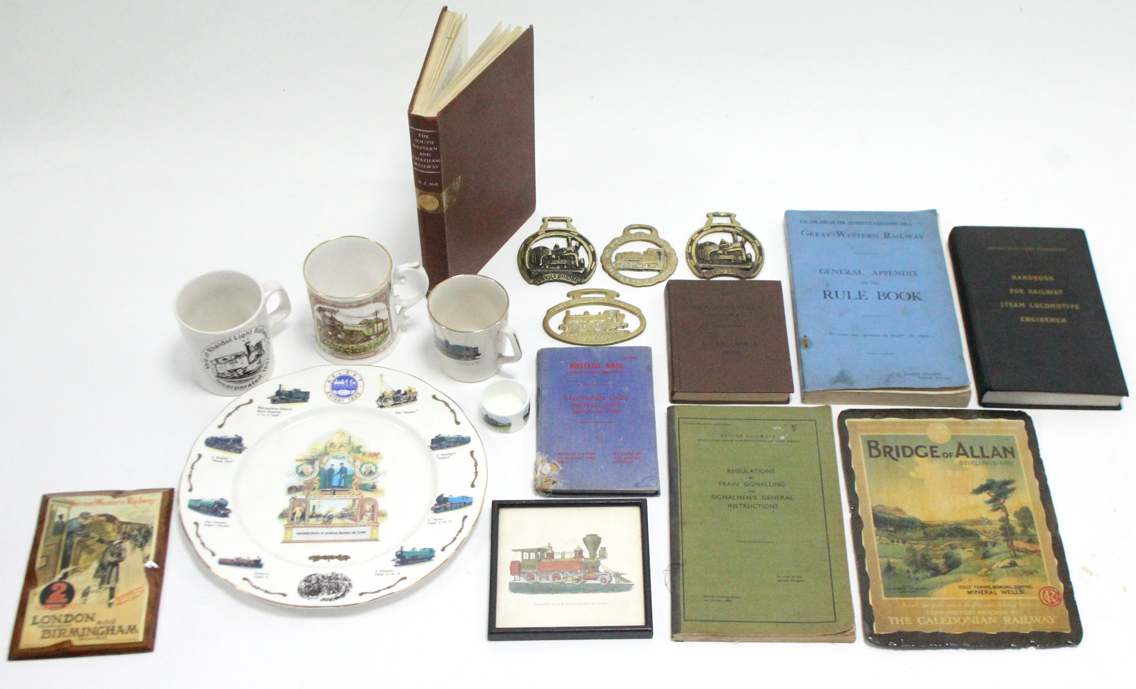 Lot 148 - Various mid-20th century railway driver's books, ornaments, etc.
