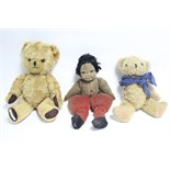 """A Lenci-type cloth girl doll, dressed, 16"""" tall; together with two teddy bears; various items of"""
