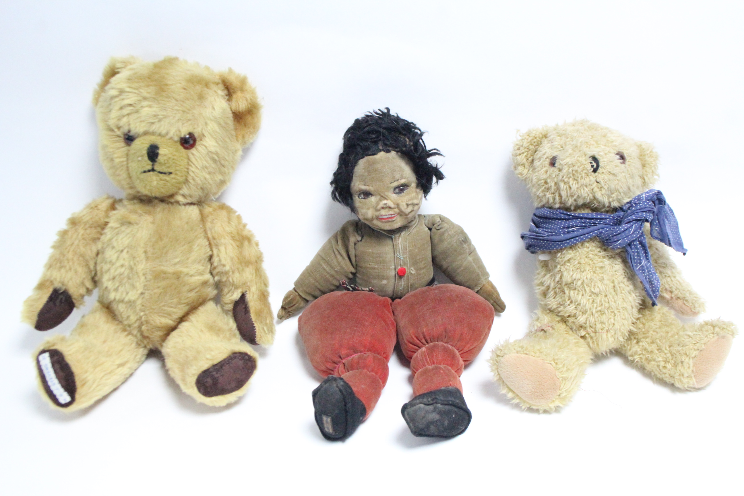 """Lot 285 - A Lenci-type cloth girl doll, dressed, 16"""" tall; together with two teddy bears; various items of"""