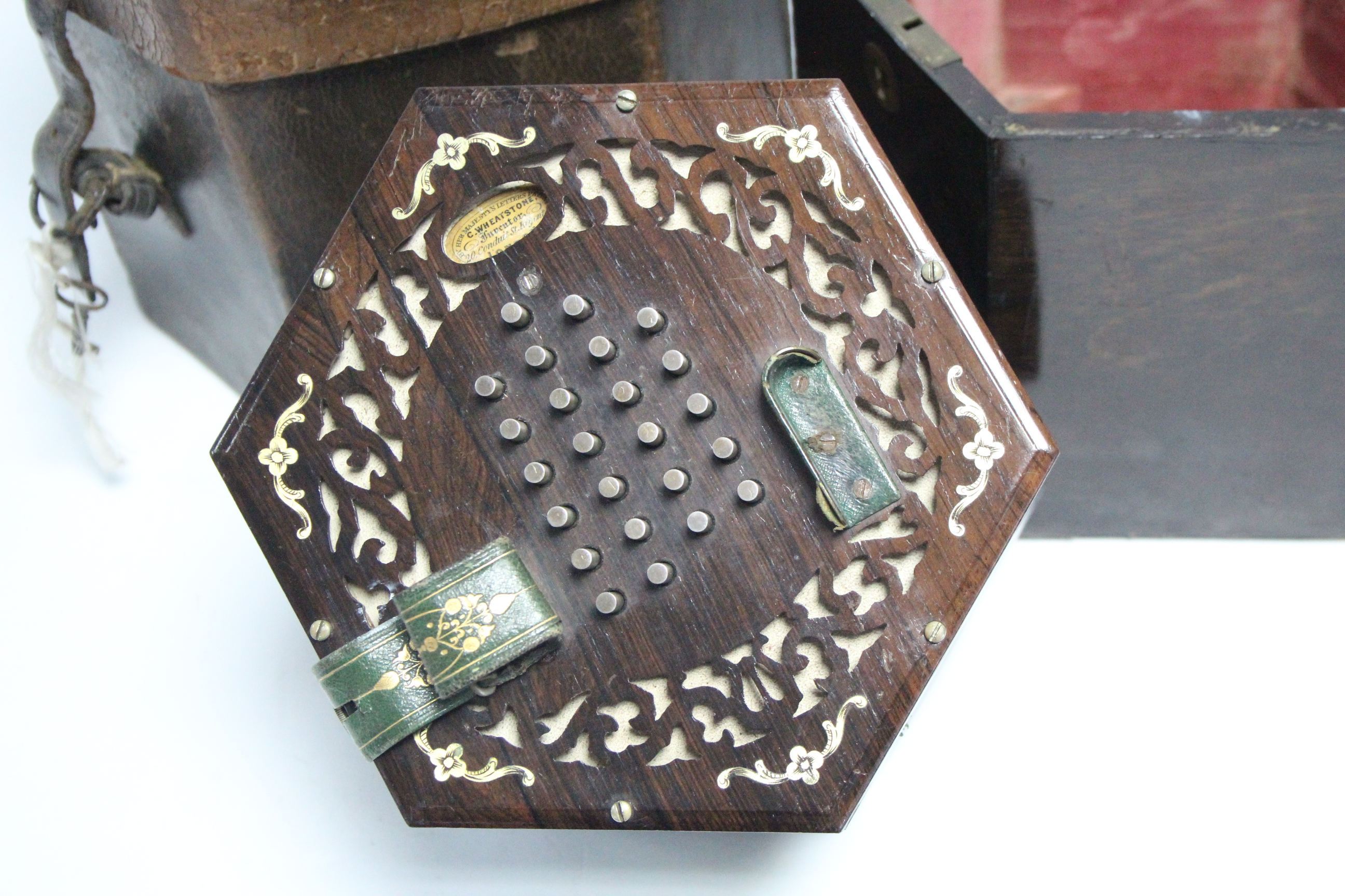 """Lot 47 - A MID-19th CENTURY ROSEWOOD CONCERTINA, BEARS LABEL: """"C. WHEATSTONE 20 CONDUIT ST, LONDON"""" with"""
