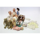 Two teddy bears (worn); five celluloid dolls; a white painted wrought-iron doll's cot; & various
