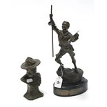 "A 1960's bronzed spelter figure of a Boy Scout, bears plaque ""Bath Spartan Ventura Unit"", 14¾"" high;"
