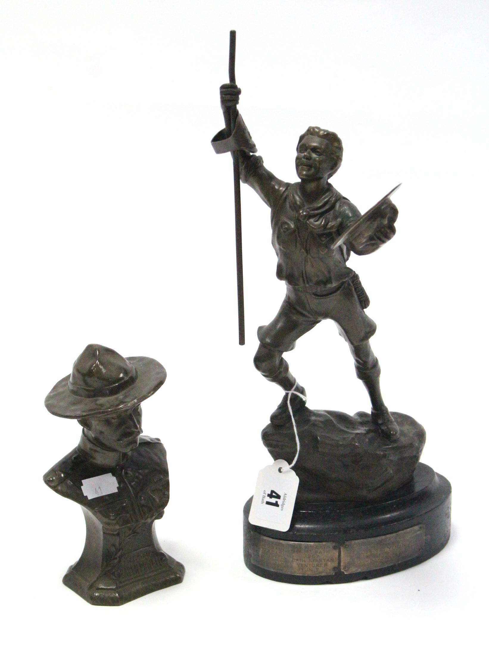 "Lot 41 - A 1960's bronzed spelter figure of a Boy Scout, bears plaque ""Bath Spartan Ventura Unit"", 14¾"" high;"