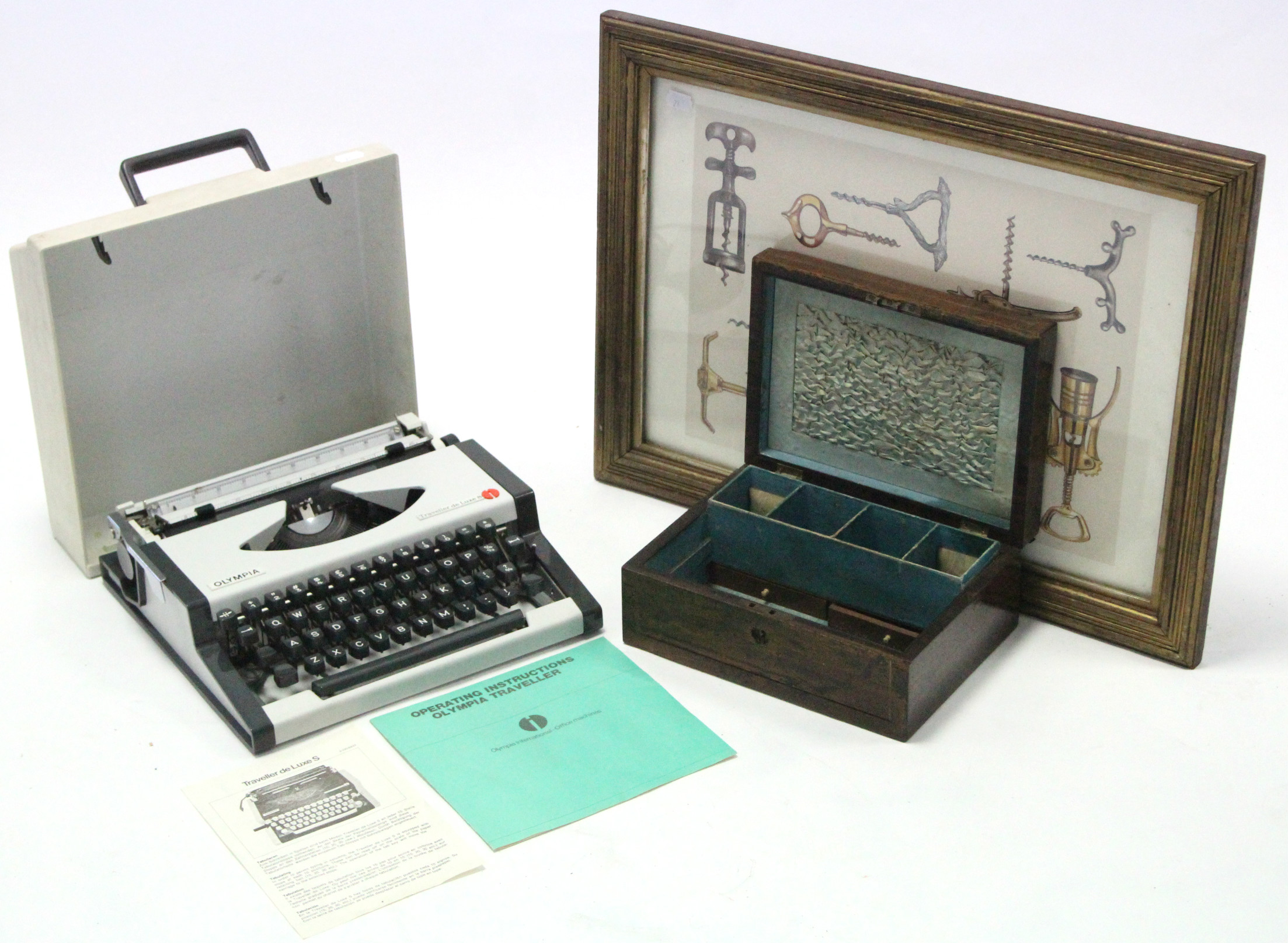 Lot 26 - A 19th century walnut trinket box; an Olympia portable typewriter; two telephones; various 78 r.