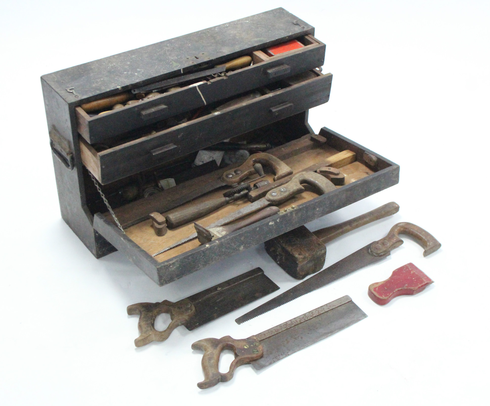 Lot 43 - An early 20th century black painted deal tool chest with hinged lift-lid, & wrought-iron side