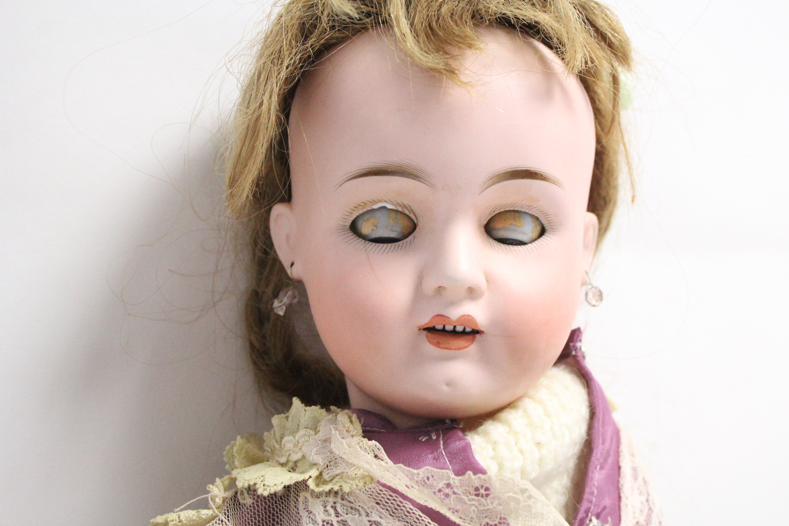A bisque head girl doll (476 8 W), with blue sleeping eyes, open mouth, & with composition body, - Image 2 of 5