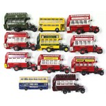 Eleven Corgi scale model 'buses, all un-boxed.
