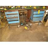 DBL. PEDESTAL MOBILE WORKBENCH W/CONTENTS IN DRAWERS