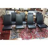 A set of 10 contemporary dining chairs in faux black leather, raised on brushed steel legs