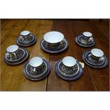 A set of six 19th century Coalport blue and gold porcelain tea cups and saucers, decorated with