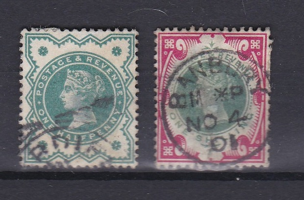 Lot 405 - Great Britain 1887-1900-1/- Green + Carmine, SG214, very fine used (Banbury c.d.s.)
