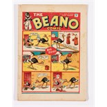 Beano No 5 (1938). Bright covers, 2 ins horizontal spine tear. Some back cover foxing spots. Only
